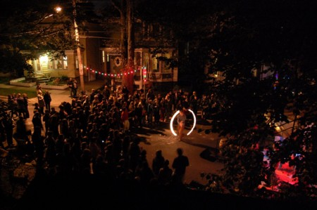 Sunday's celebration featured live music and swirling fire. (Photo courtesy of Eli Gordon)