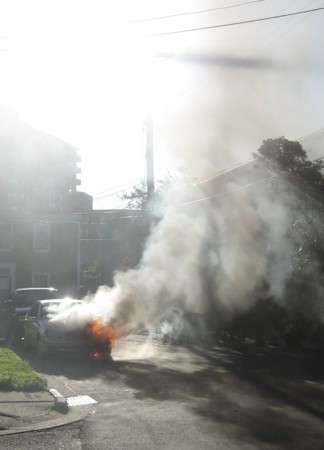 The smell of burning plastic first alerted neighbours.