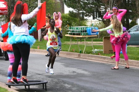 Sarah Jebet, of Kenya, is all business as she runs through the North End on her way to  the women's title and a record time at the Blue Nose Marathon on Sunday.